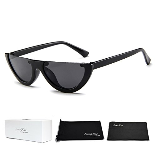 SamuRita Bold Half Lens Frame Cat Eye Sunglasses Mod Tinted Retro Shades(Black+Black Frame)