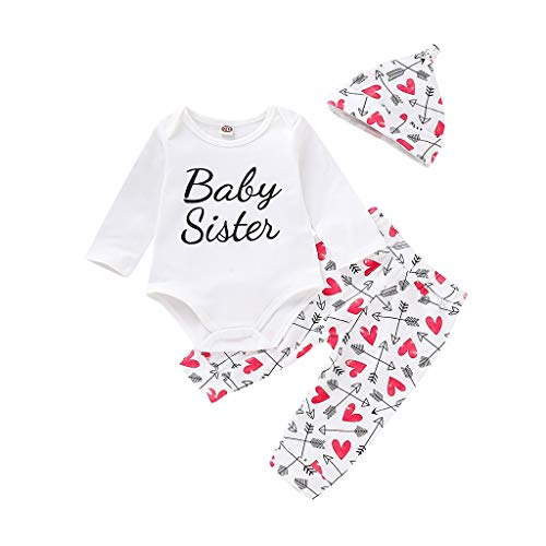 - 3 Pieces Infant Newborn Baby Boy Girl Letter Printed Romper Jumpsuit + Pattern Pants+Hat Clothes Set Outfit
