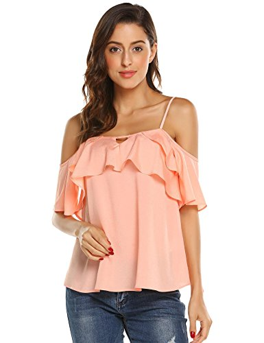 - Grabsa Women's Summer Strap Cami Shirts Ruffle Chiffon Off Shoulder Blouse Tops Pink M
