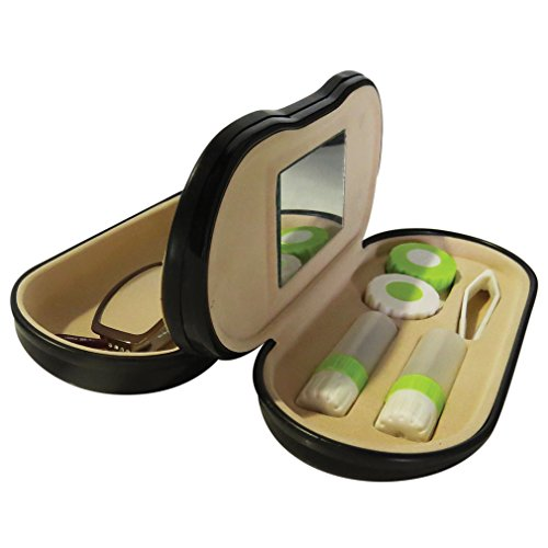 Evelots Dual Sided 2 in 1 Glasses & Contacts Protective Clamshell Carrying Case (Contact Lenses Sunglasses)
