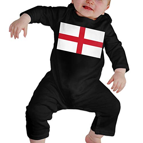 U99oi-9 Long Sleeve Cotton Rompers for Baby Boys and Girls, Cute England Flag Crawler Black -