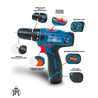 JPT HEAVY DUTY 12V CORDLESS DRILL/SCREW DRIVER WITH 2 BATTERIES 9