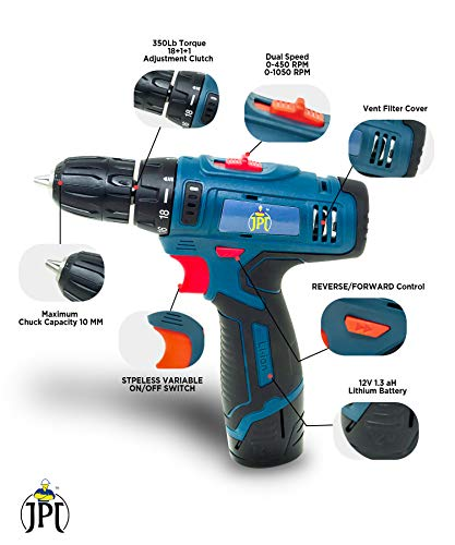 JPT HEAVY DUTY 12V CORDLESS DRILL/SCREW DRIVER WITH 2 BATTERIES 2