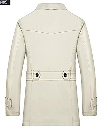 Gnao Mens Thicken Fleece Lined Lapel Single Breasted Quilted Jacket Coat