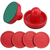 Mini Air Hockey Pucks and Paddles - Replacement Set Value Pack - Set of Two Red Air Hockey Pushers and Four 2 Inch Red Pucks I Epic Gifts
