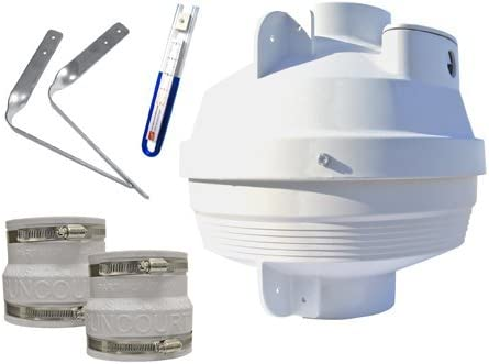 Suncourt RDK04-3 Radon Fan Mitigation Kit, Centrax Inline Centrifugal Fan with 4 inch to 3 inch Rubber Couplers, Indoor and Outdoor Installation