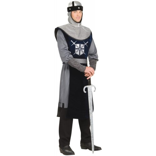 [Forum Knight Of The Round Table Costume, Silver/Black, Standard] (Men Renaissance Costumes)