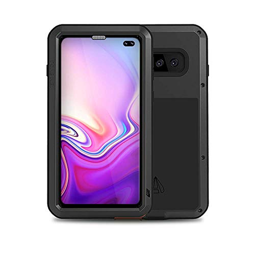 Galaxy S10 Plus Case,Bpowe Armor Tank Aluminum Metal Gorilla Glass Shockproof Military Heavy Duty Sturdy Protector Cover Hard Case for Samsung Galaxy S10 Plus (Black) (Aluminum Protector Case)