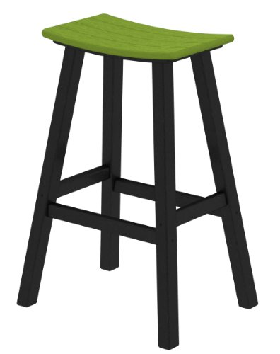POLYWOOD 2012-FBLLI Contempo Bar Height Saddle Seat Barstool, Black Frame, Lime
