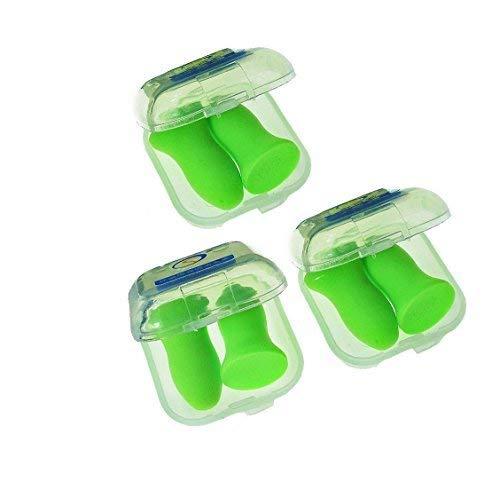 Top Reusable Comfortable Earplugs,Polyurethance Memory Foam,Ear Shield 48.4dB Highest NRR for Sleeping,Travel,Work Hearing Protection(Green,3Pairs,Medium)