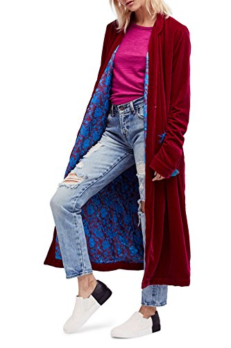 Free People Women's Dhalia Velvet Duster Jacket, Pink, Small
