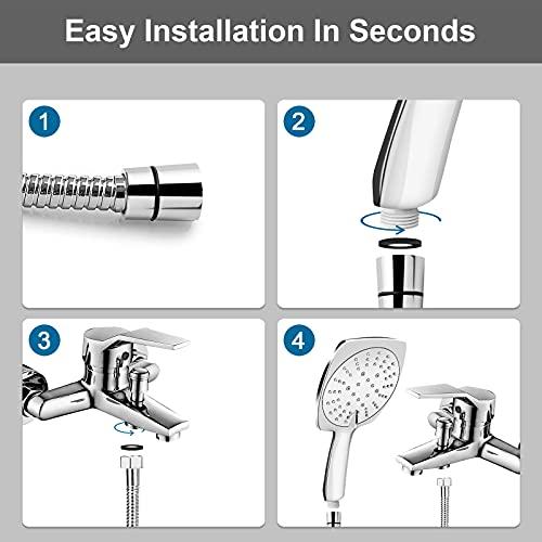 Shower Head and Hose, Etopgo High Pressure Shower Heads with 1.5m Hose Set , Adjustable Square Power Shower Head with 3 Spray Modes,Chrome