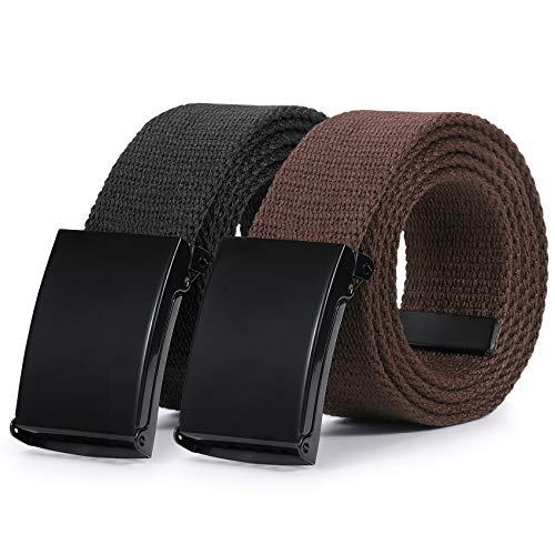Canvas Web Belt Flip-Top Solid Black Military Buckle Mens Webbing Belts Cut To Fit 2 Pack Black+Coffee S