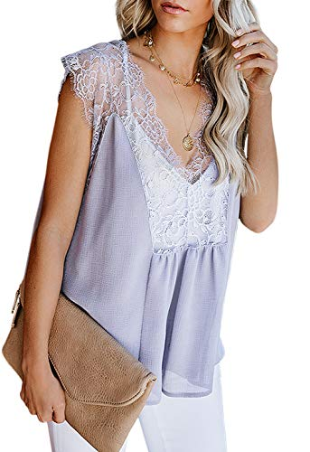 Lace Tanks for Women Elegant Crochet Lace Casual Sleeveless Loose Fitting Tunic Shirts V Neckline Cami Vest Grey S