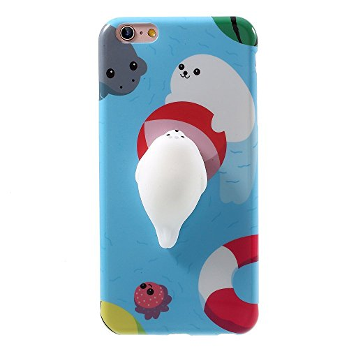 Squishy phone Case for iphone 5 5s SE 3D Cute Pinch Toy Soft Cover for iphone 5/5S/SE by One button,Easy cleaning Suitable for long time kneading (ocean seal)