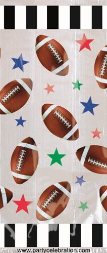 Football Large Cello Treat Bags with Green Twist Ties - 20/Pack