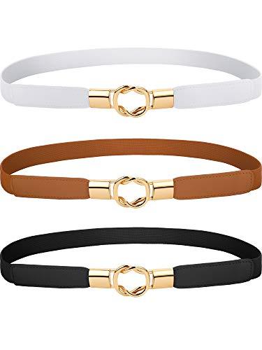 Blulu 3 Pieces Women Skinny Waist Belt Elastic Thin Belt Waist Cinch Belt for Women Girls Accessories (Set 3)