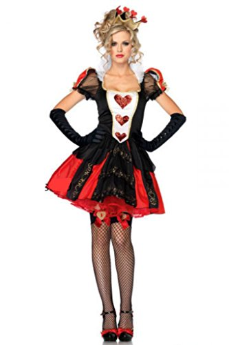 [NonEcho Women's Halloween Costume Movie Costume Red Heart Queen Outfit] (Red Queen Of Hearts Costumes Wig)