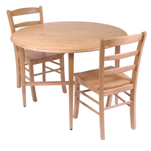 Winsome Hannah Dining Set, Drop Leaf Table With 2 Ladder Back Chairs,  3 Piece Part 52