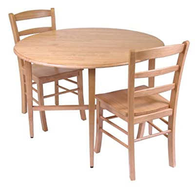 Winsome Hannah Dining Set, Drop Leaf Table with 2 Ladder Back Chairs, 3-Piece - Round 42-inch table open size 42-inch round by 29.50-inchh.  one leaf drop : 42-inchl by 25.75-inchd by 29.37-inchh. one leaf size 42-inchw by 17-inchd.  folded size is 41.90-inchw by 9.7-inchd by 29.3-inchh Comes with #34342 - 2 ladder back chairs each size is 16.60-inchw by 20.50-inchd by 34.70-inchh.  seat height is 17.97-inch.  seat back width and height is 16.60-inch by 16.69-inch Assembly required - kitchen-dining-room-furniture, kitchen-dining-room, dining-sets - 41e0JbGBGKL. SS400  -