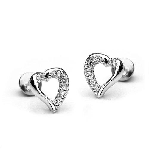 925 Sterling Silver Rhodium Plated Open Heart Cubic Zirconia Screwback Baby Girls Earrings