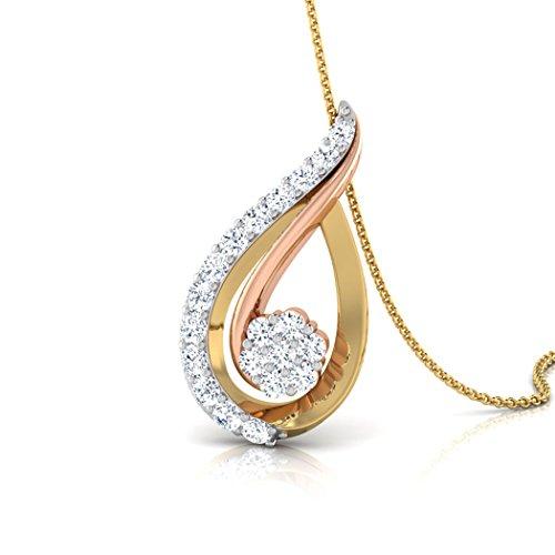 18K Or jaune 0,26CT TW Round-cut-diamond (IJ | SI) Pendentif