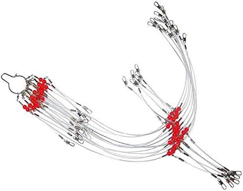 AGOOL 24個/袋 ホワイト ナイロン 釣り用ワイヤーリーダー リグ トレース スイベル、スナップ、ビーズ、アーム、釣りルアー タックルリーダーリギング