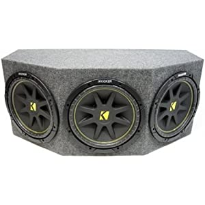 "ASC Package Triple 12"" Kicker Sub Box Sealed Rearfire Subwoofer Enclosure C12 Comp 900 Watts Peak"