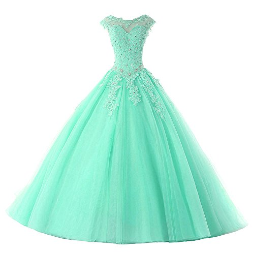 Gown Quinceanera New (HEAR Women's Long Quinceanera Dresses Ball Gown Beaded Party Prom Dresses 2017 er110)