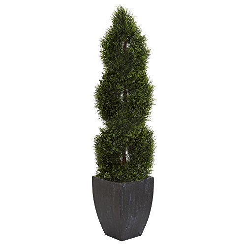 Double Spiral Topiary - Nearly Natural Black Wash Double Pond Cypress Spiral Topiary Planter, 5'
