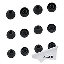 ALXCD Ear Tip for LG HBS Earphone, SML 3 Sizes 6 Pair Silicone Replacement EarTip gel, Fit for LG HBS-730 750 770 HBS800 810 900 910 1100 Tone Pro Ultra Infinim Plus Platinum [6 Pair] (Black)