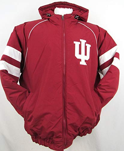NCAA Indiana University Hoosiers Mens Full Zip Hooded Winter Jacket AINA 1 M L XL XXL (Medium)