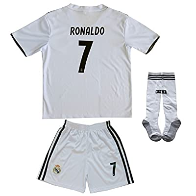 2017/2018 Real Madrid #7 Ronaldo Kids Home Soccer Jersey & Shorts Youth Sizes