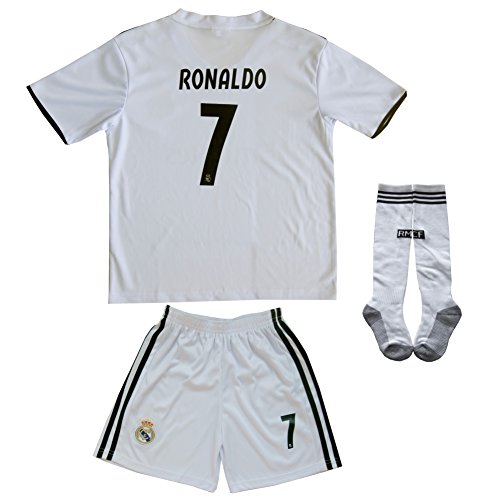 (FCRM 2017/2018 Real Madrid #7 Ronaldo Kids Home Soccer Jersey & Shorts Youth Sizes (4-5 Years Old))