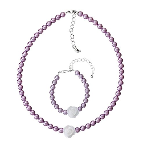 Crystal Dream Violet Czech Glass Pearls with Resin Flower Handmade Bracelet and Necklace Gift Set (GSNB36_M) (Crystal Violet Glass)