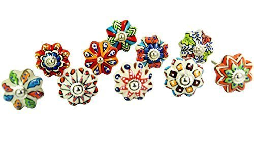 Set of 10 Vintage Color Multi Designed Ceramic Cupboard Cabinet Door Knobs Drawer Pulls & Chrome ()