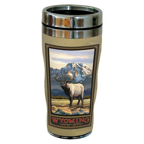 TreeFree Greetings 77458 Wyoming Elk by Paul A. Lanquist Vintage Art Sip 'N Go Travel Tumbler, Stainless Steel, 16-Ounce, Multicolored
