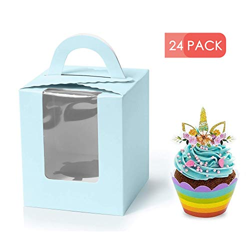 Holder Craft Goody - Single cupcake carrier - 24 pack Cupcake Boxes with Window, Gift Box for cupcake to go for Wedding Decoration, Party Favor, blue