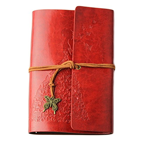 Vintage Style Leaf Leaves Pattern PU Cover Notepad Travel Journal Diary (Red) - 6