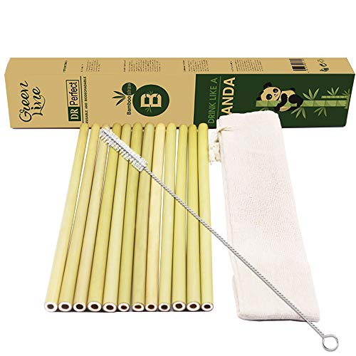 DR.Perfect Reusable Straws Biodegradable BPA Free Non Toxic Heat Resistant Bamboo Straws with Cleaning Brushes & Storage Bag - Pack of 12