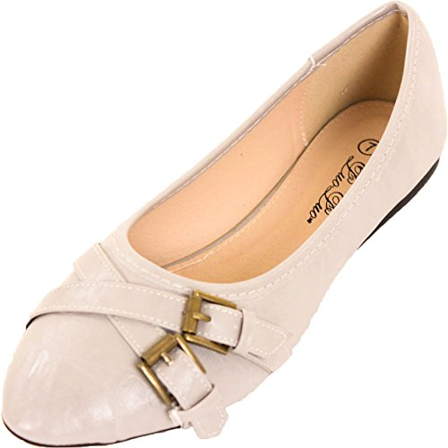 Luoluo Mujeres Faux Leather Buckle Slip On Ballet Pisos Gris