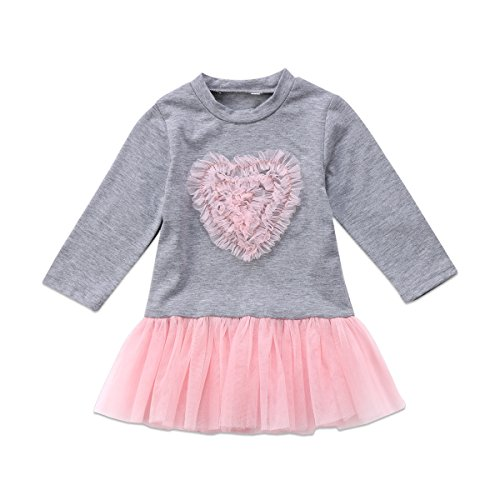 78d16af90b5c Baby Girls Easter Dress Long Sleeve Knitted Bow Sweater Top Tulle ...