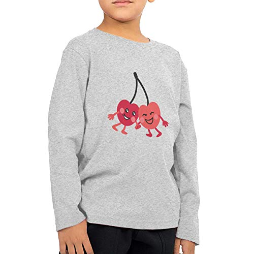 HIGASQ Unisex Baby Cute Cartoon Cherry Toddler's Long Sleeve Round Neck Casual Pullover T Shirt for Kid (Boys Girls)
