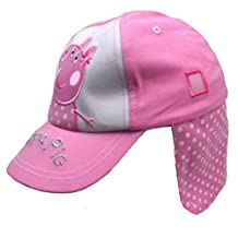 Girls Peppa Pig Legionnaires Cap Summer Hat Pink Spotty Design 12-23M and 2-4Y