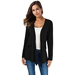 TownCat Women's Loose Casual Long Sleeved Open Front Breathable Cardigans with Pocket (Black, L)