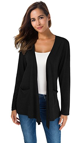 TownCat Women's Casual Long Sleeves Open Front Cardigans with Two Pockets Side(Black,XL)