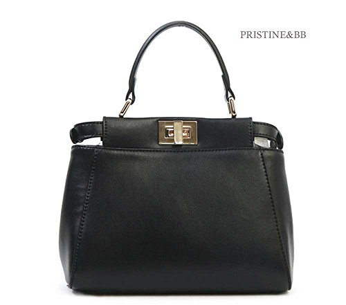 Lovely top Satchel 916 Skin Shoulder Black Cow Women's Italian Crossbody Bag fashion Tote Finest handle Golden BtxqFn