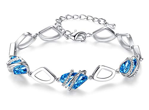 "Leafael [Presented by Miss New York] Wish Stone Made with Swarovski Crystals Focal Shape Silver Tone Aquamarine Blue Bracelet, 7""+2"", Nickel/Lead/Allergy Free, Luxury Gift Box"