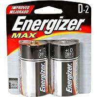 Pilas Energizer Max D, paquete doble E95BP-2 alcalinas, 1 paquete de 2