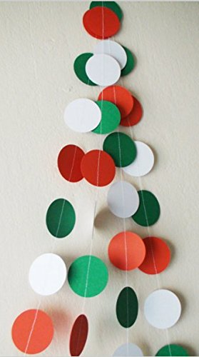 2M Christmas garland, Red White Green paper circles 10ft banners, Christmas New Year garland, Party Birthday Decorations ,Pack of 4 ()